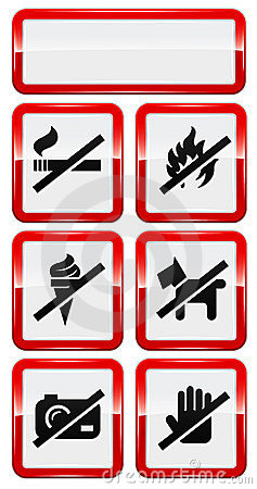 Set of icons forbidding smoking, fire, dog etc.