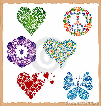 Set of Icons Heart / Butterfly / Flower