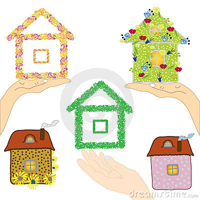 Set of icons with houses