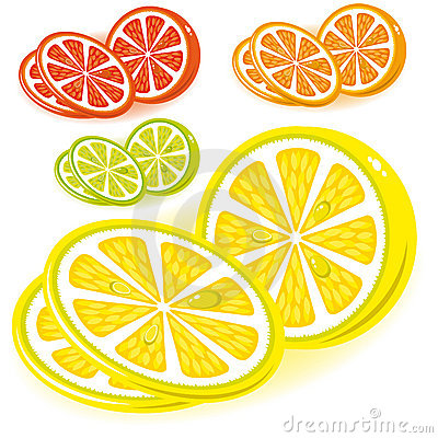 Set of icons - lemon, lime, grapefruit, orange,