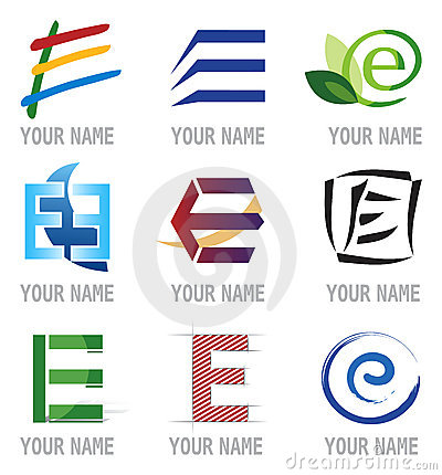 Set of Icons and Logo Elements Letter E