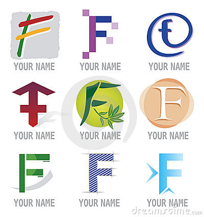 Set of Icons and Logo Elements Letter F
