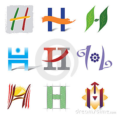 Set of Icons and Logo Elements Letter H