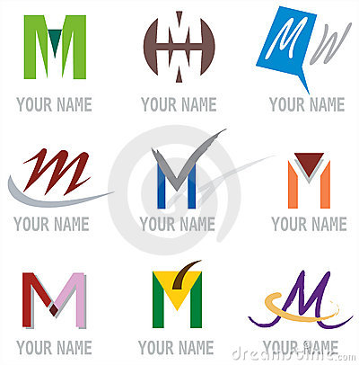 Set of Icons and Logo Elements Letter M Vector Illustration