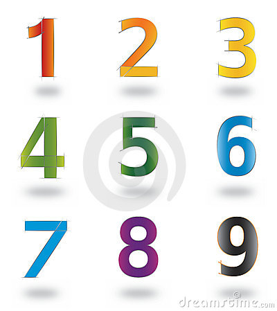 Set of Icons and Logo Elements Numbers 1 to 9