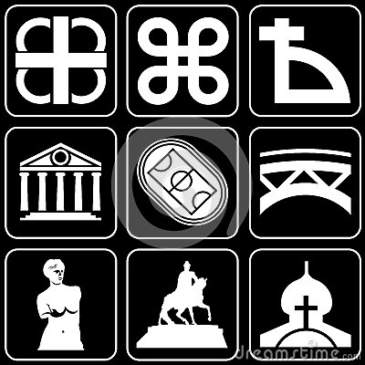 Set of icons (monuments, ancient)