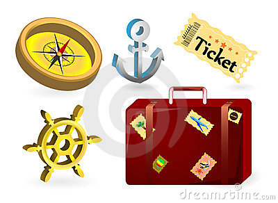 Set icons nautical, adventure, cruise ship, suit