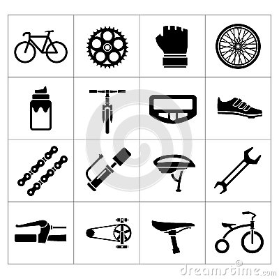 Free Set Icons Of Bicycle, Biking, Bike Parts And Equipment Royalty Free Stock Images - 39698579