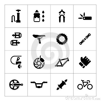Free Set Icons Of Bicycle – Parts And Accessories Royalty Free Stock Photos - 47662698