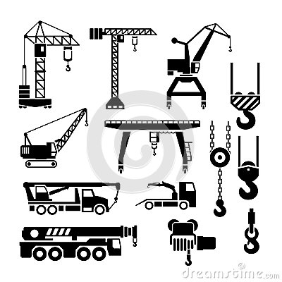 Free Set Icons Of Crane, Lifts And Winches Royalty Free Stock Image - 40259176