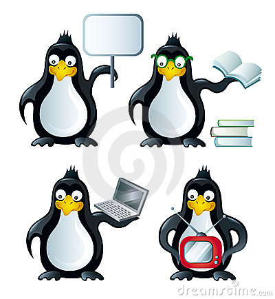 Set of icons with penguins