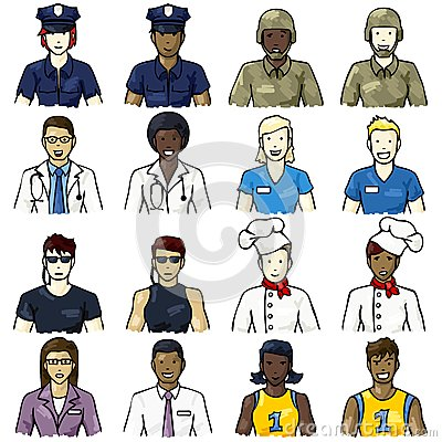 Set of job-related people icons