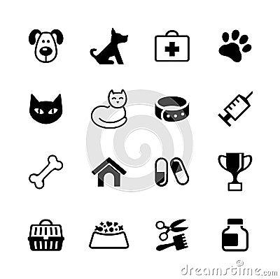 Set icons - pets, vet clinic, veterinary medicine