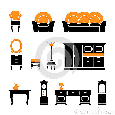 Set icons of retro furniture and home accessories