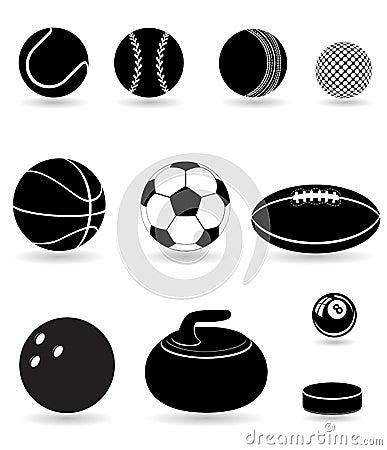 Set icons sport balls black silhouette vector illu
