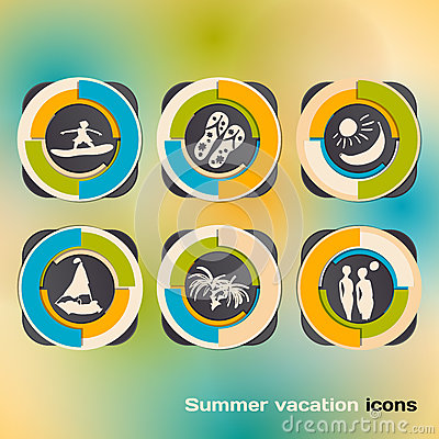 Set of icons on a theme of summer holidays by the sea