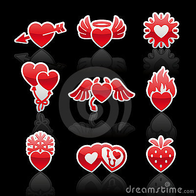 Set icons of Valentine s day red hearts