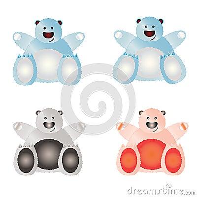 Set of illustrated bears.