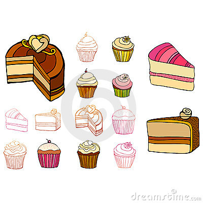 Set of Illustrated cakes