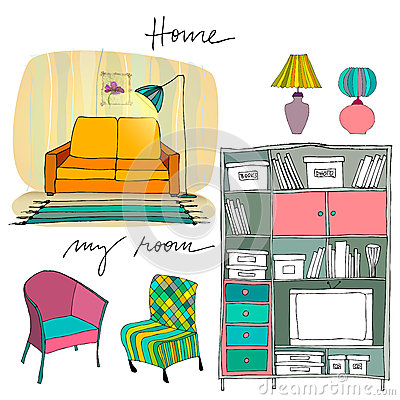 Set of illustrated interior elements
