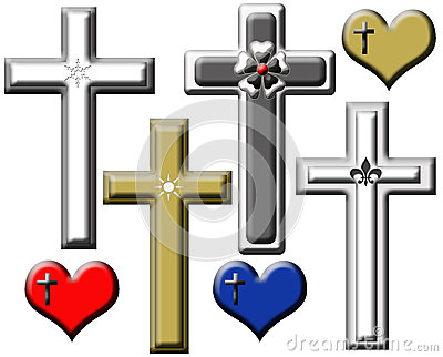 Set of Illustrated Religious Crosses