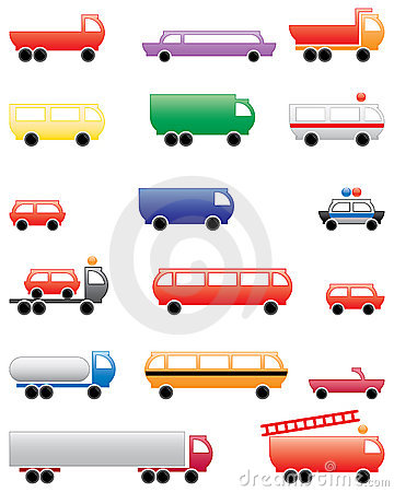 Set of illustrated vehicles