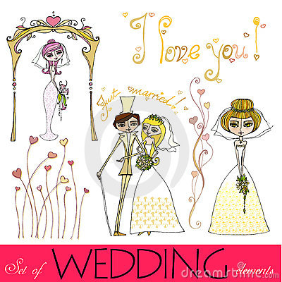 Set of illustrated wedding elements