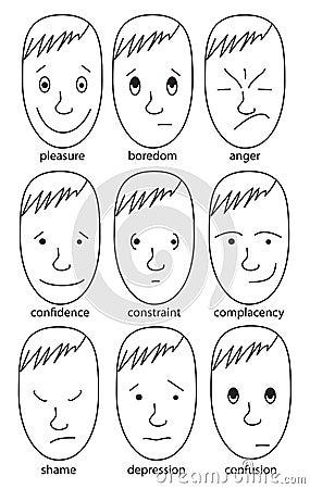 Set of illustrations expressing various feelings