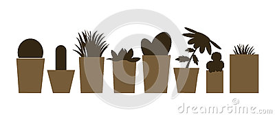 Set of illustrations and silhouettes of flower pots with cacti and plants Cartoon Illustration