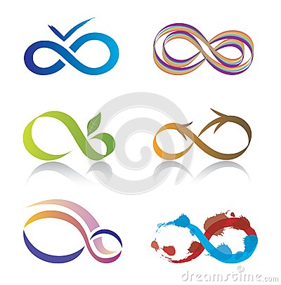 Set of Infinity Symbol Icons
