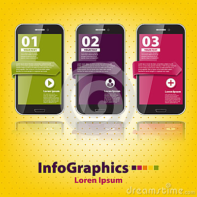 Set infographic with three smartphones