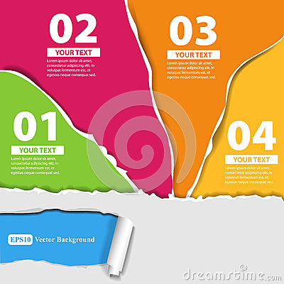 Set for infographics with colored papers with edge