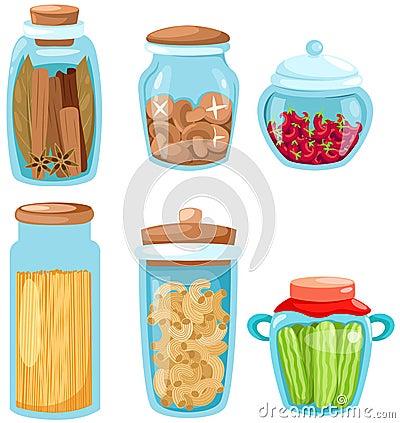 Set of ingredient glassware