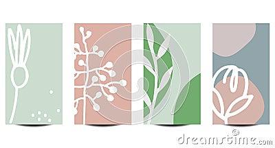 Set of Instagram stories templates. Floral backgrounds for social media in pastel colors Vector Illustration