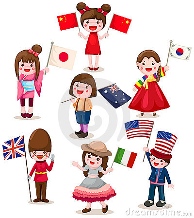 Set of international childrens holding flag