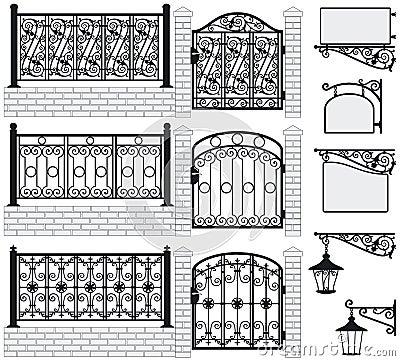 Set of iron wrought fences, gates, signboards, lan