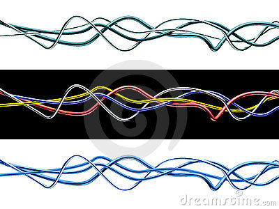 Set of isolated 3d multicolored cables.