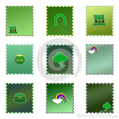 Set of Isolated Colored St. Patrick s Day Stamps
