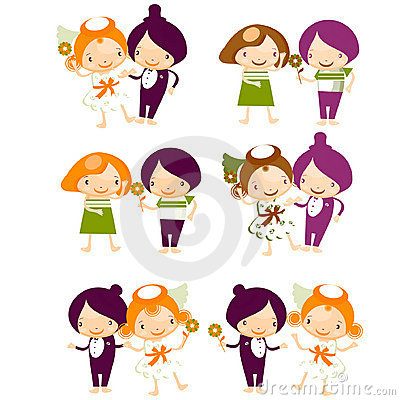 Set of isolated couple cartoon