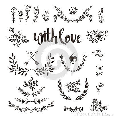 Free Set Isolated Hand Drawn Design Elements With Stylish Lettering With Love. Wedding, Marriage, Save The Date, Valentine& Stock Images - 65641644