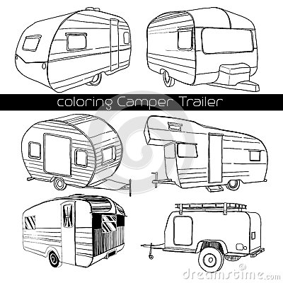 Free Set Isolated Hand Drawn, Doodle Camper Trailer, Car Recreation Transport, Vehicles Camp Vans Caravans Lines Icons. Motor Royalty Free Stock Photos - 84406418