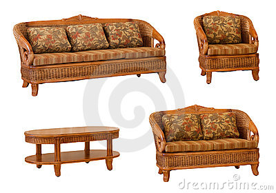 Set of isolated rattan furniture