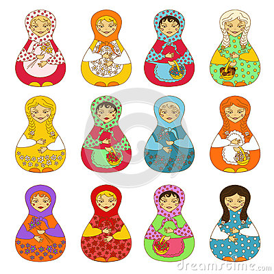 Set of isolated Russian dolls matrioshka