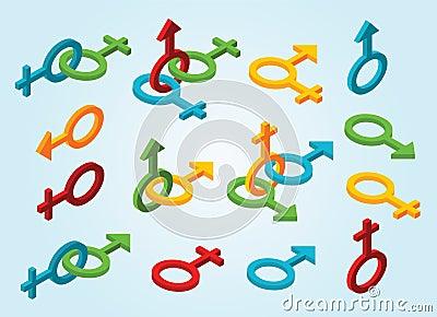 Set of isometric gender icons