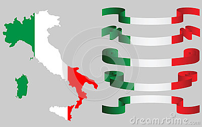 Set of Italian ribbons and Italian map in flag colors