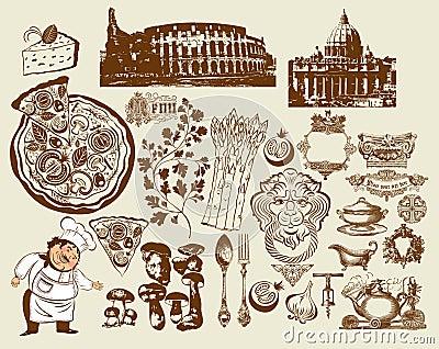 Set of Italian symbols. Hand drawing. Colosseum (R