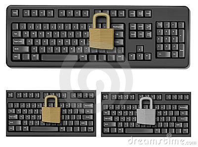 Set with keyboards with padlock.