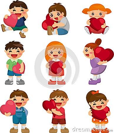 Set of kid hug heart