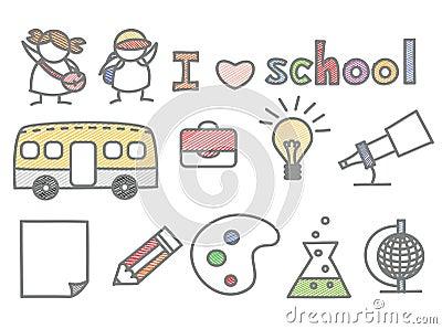 Set of kid love school