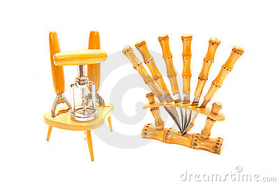 Set of kitchen accessories on a white background